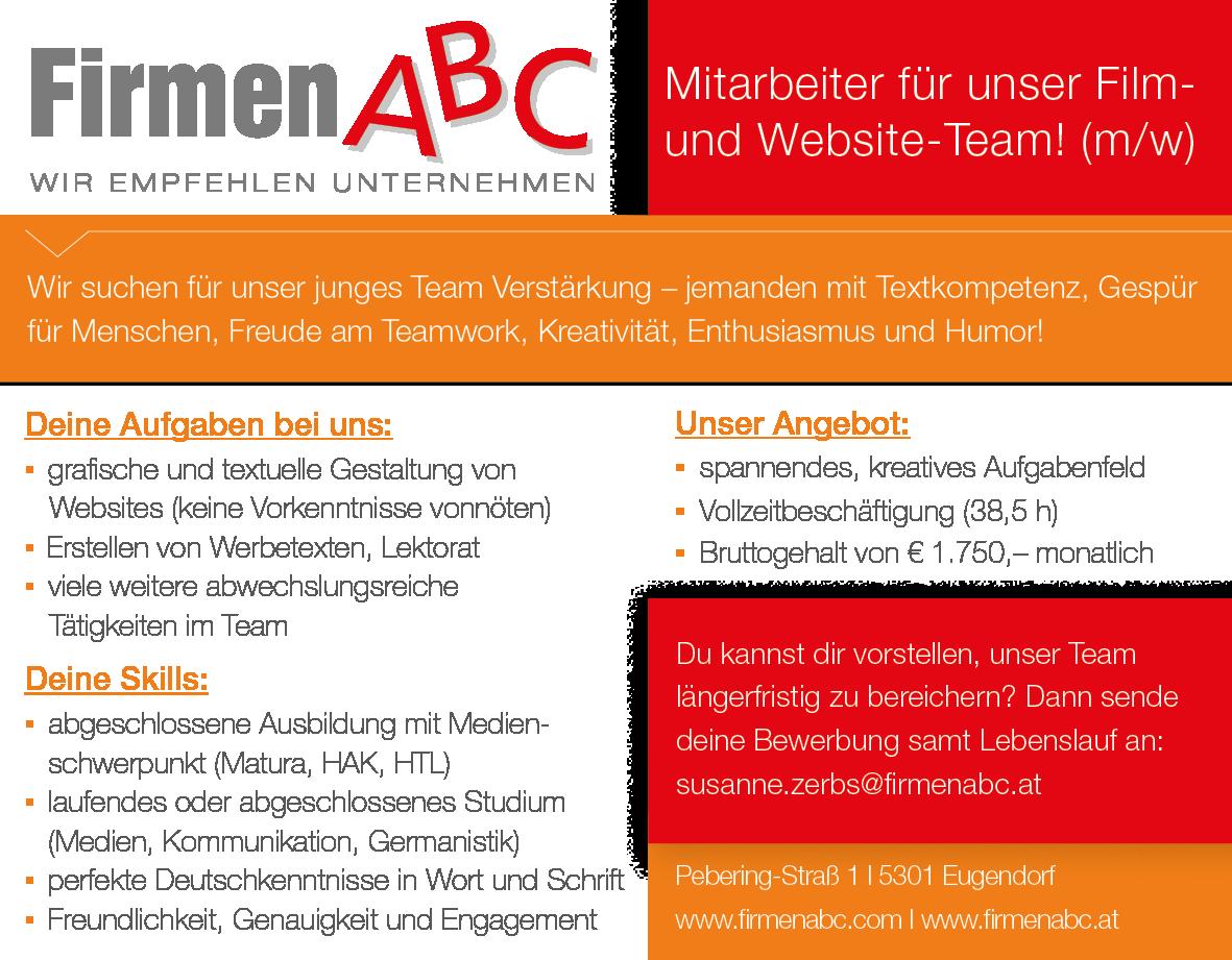 Mitarbeiter für unser Film- und Website-Team (m/w) in Eugendorf ...