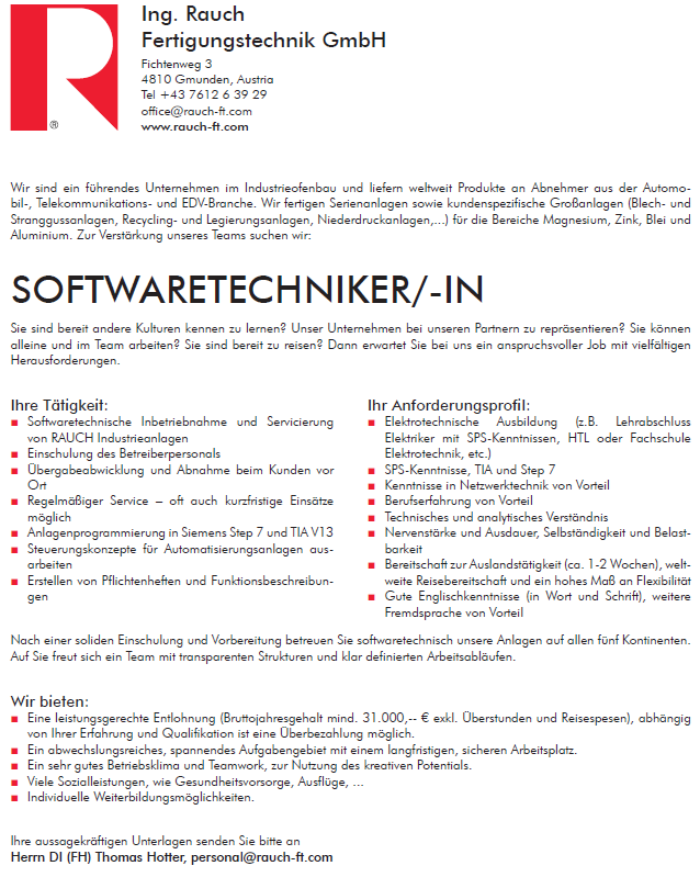 Softwaretechniker (m/w):