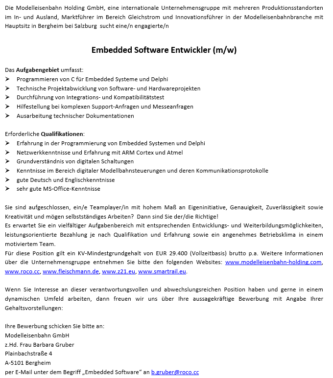 Embedded Software Entwickler (m/w):